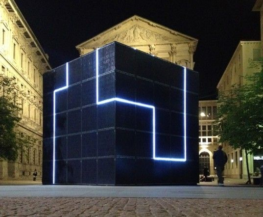 Romolo Stanco's e-QBO is giant monolithic cube that harnesses solar energy to power an integrated communications hub. The cube is wrapped wi...