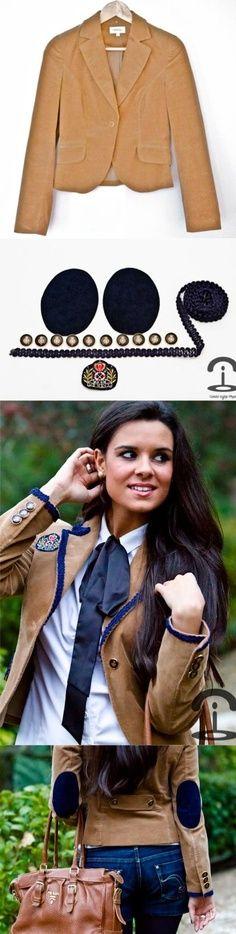 DIY Crimenes de la Moda - College jacket - Blazer coderas - botones militares