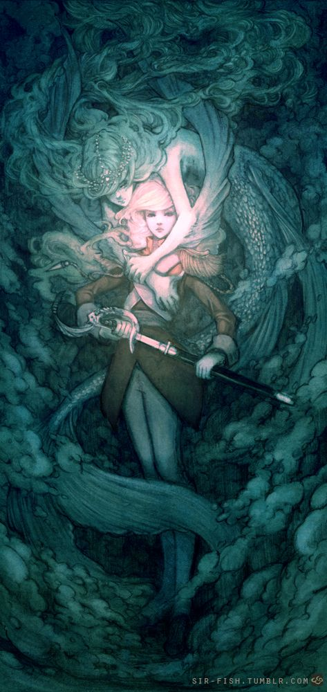 Mermaid by SirFish on deviant: Illustrations Art, Sirens, Art Inspiration, Digital Art, Mermaids Illustrations, Dark Art, Character Design, The Little Mermaids, Sirfish