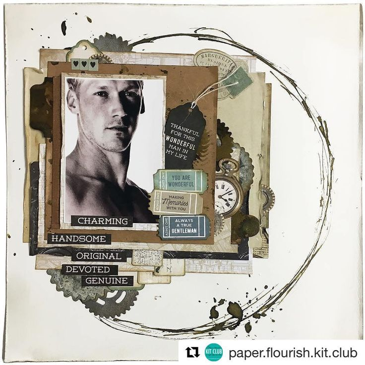 Another boy layout created for the August Kit by @kasialeach .. The antique gold…