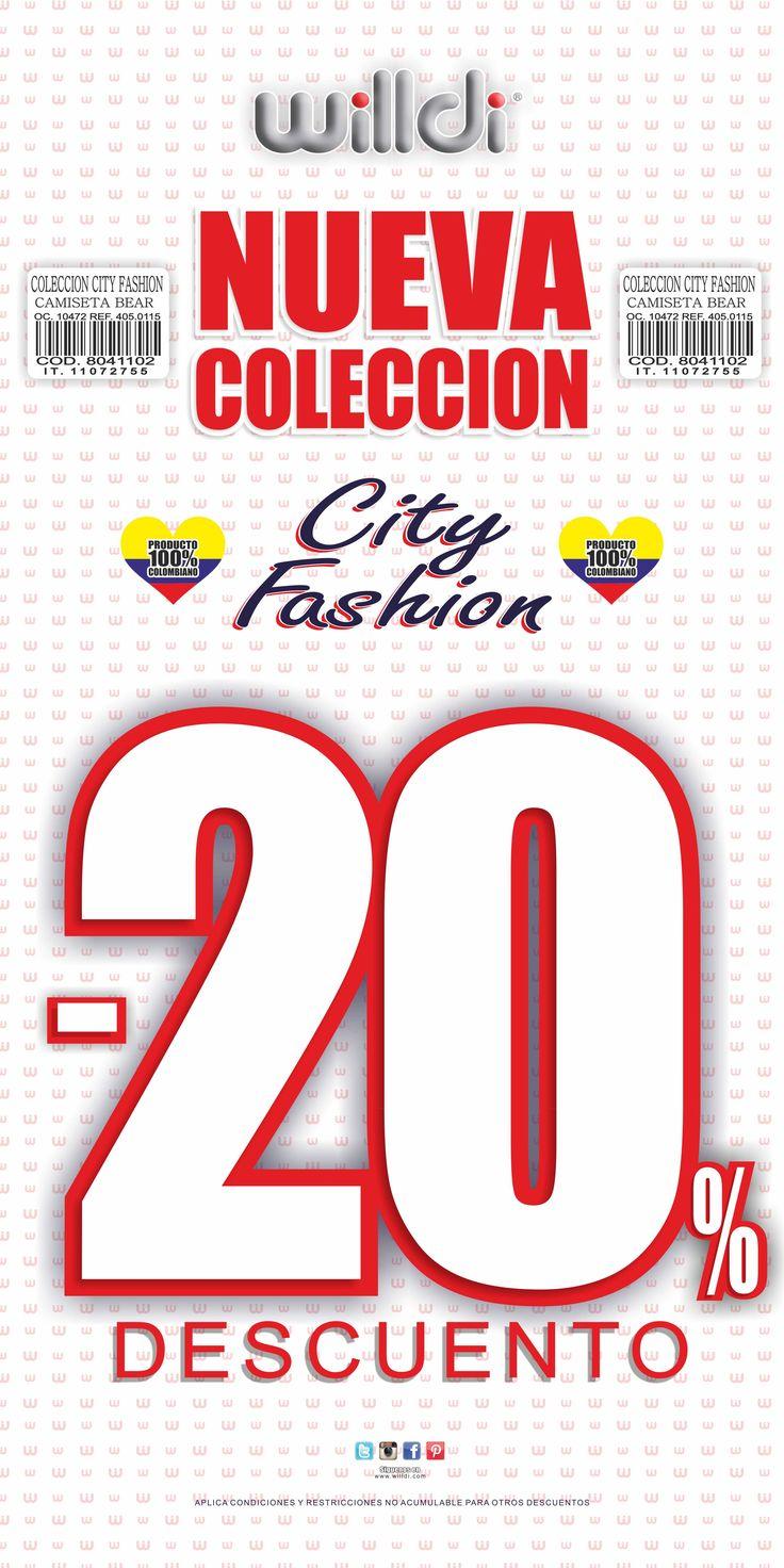 20%Dto en la colección City Fashion !! Ya tienes tu pinta para el día de Amor y Amistad ♥♥♥ ??..  #WilldiCrecemosContigo