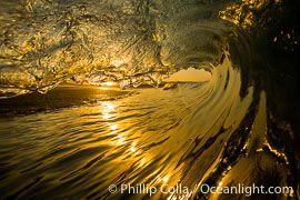 Sunrise breaking wave, dawn surf, The Wedge, Newport Beach, California