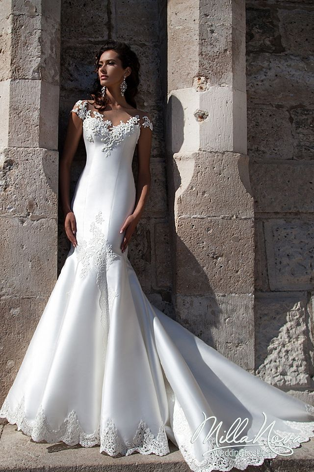Find More Wedding Dresses Information About Sexy Mermaid Lace 2016 White Satin Bride Dress