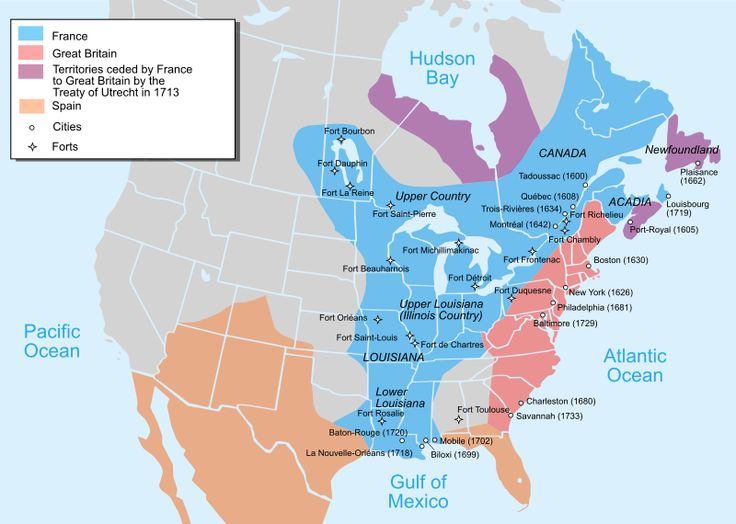 A map of North America in 1750. The Seven Years' War was largely about land and trade. #cdnhistory #americanhistory #europeanhistory