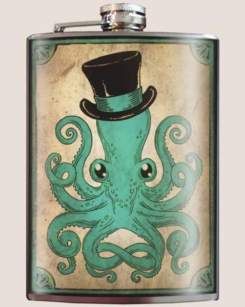 """Description The """"Gentleman Octopus"""" flask is a must for lovers of cephalopods, or any serious steampunk aficionado. Drink with style... Original art on a stainless steel hip flask. No copies, no bland"""