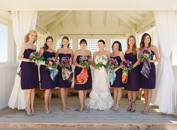 Hermes Bridesmaids Gifts - This beautiful bride gave her bridesmaids Hermes scarves! Via Snippet and Ink