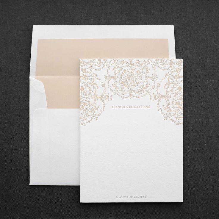 Duchess of Cameron: Letterpress Floral Congratulations Note Card, Blank, on 220lb Crane's Lettra 100% Cotton Paper