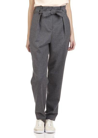 Pantalon droit taille haute ceinturé en laine vierge Pasaleo Gris by MAJE