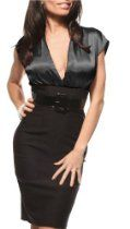 FITTED CAREER WOMAN COCKTAIL HIGH WAIST PENCIL SATIN DRESS WITH BELT