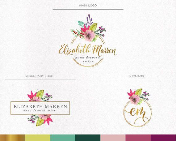 Floral logo,Events Logo , Boutique Logo ,Watercolor Logo ,Wedding Logo , Home Decor logo,Watermark,Branding Kit, Gold foil, Luxury, Elegant
