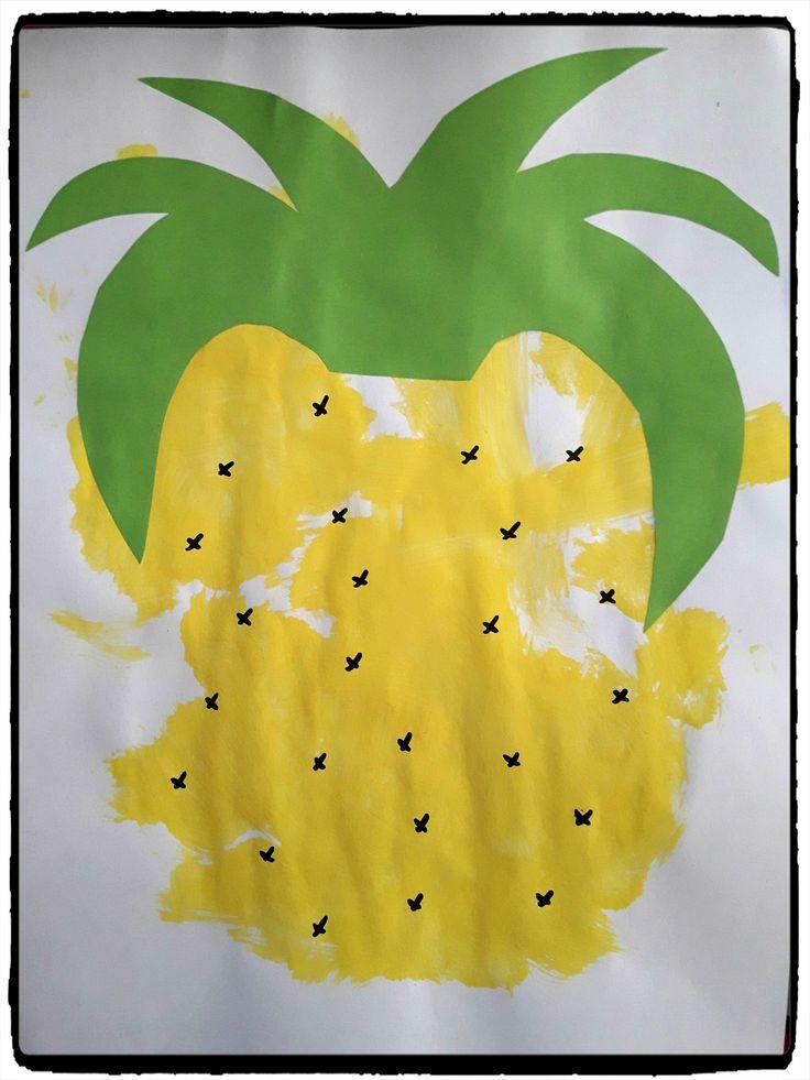 bricolage ananas, peinture enfant, fruit, été
