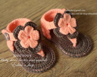 Crochet baby sandals baby gladiator sandals baby por editaedituke
