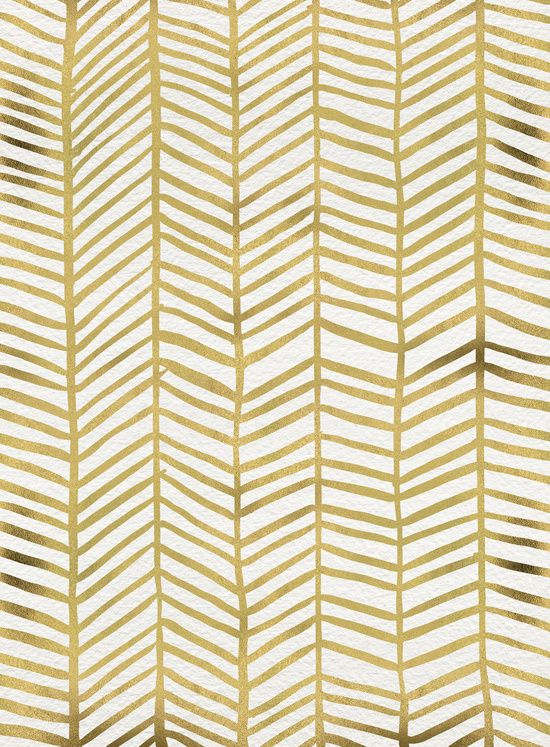 Gold Herringbone Art Print  by Cat Coquillette on Society6.com