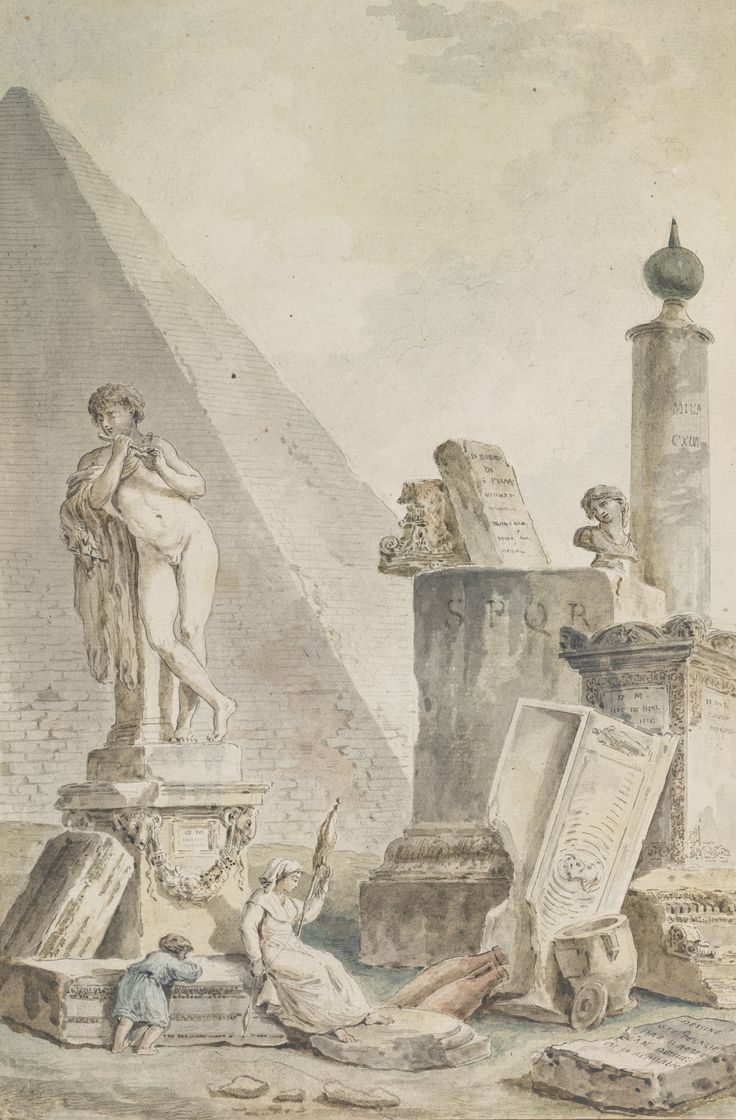 Percy bysshe shelley quotes quotesgram - Hubert Robert La Fileuse Capriccio With A Woman Spinning By The Pyramids Of Cestius Amid Other Roman Sculptures And Remains