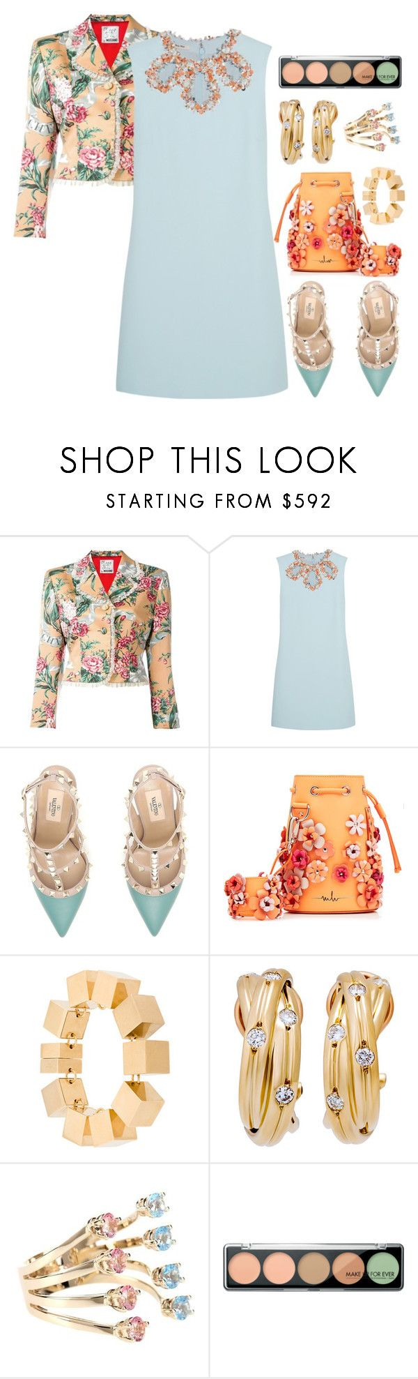 """""""Pastel Date Style"""" by ladygroovenyc ❤ liked on Polyvore featuring Moschino, Miu Miu, Valentino, Marina Hoermanseder, CÉLINE, Delfina Delettrez, MAKE UP FOR EVER, DateNight and pastel"""