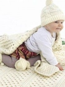 Aran Merino Wool Baby Blanket A810
