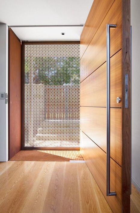 Wood panel door + screen.
