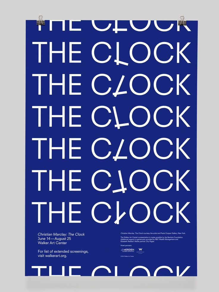 Clever use of repetition and subtle image play combining a clockface within the word clock.