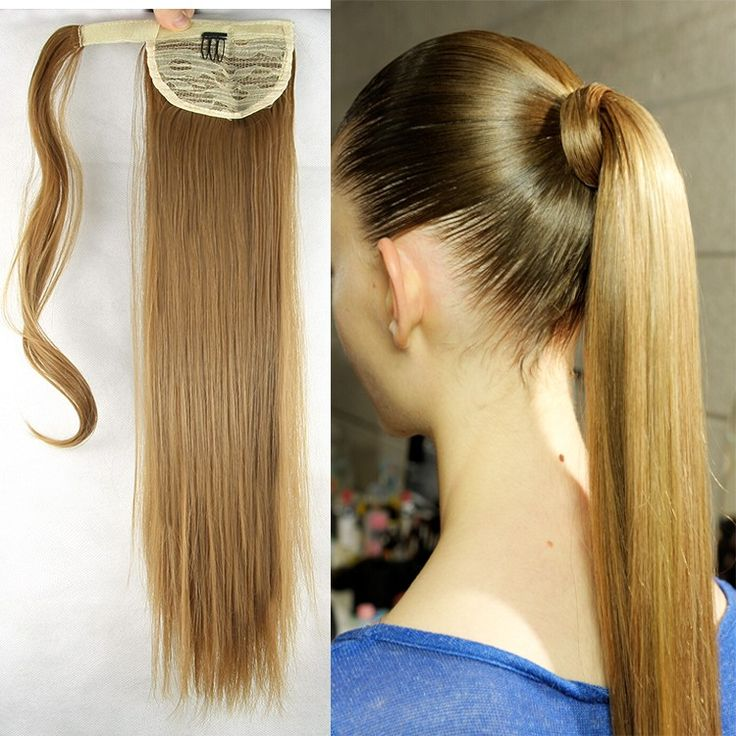 Clip In Curly Hair Extension On Sale At Reasonable Prices Buy New Fashion Women Long Straight Drawstring Ponytail Cheap Synthetic