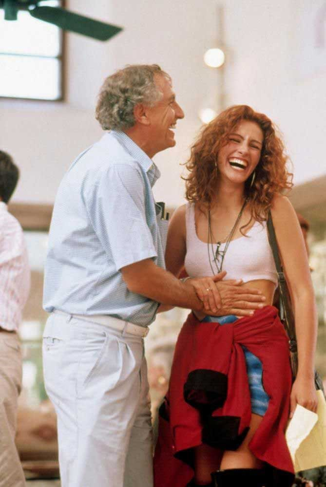 Director Garry Marshall and Julia Roberts on the set of Pretty Woman