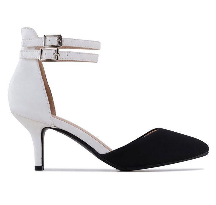 Two Tone Kitten Heel Pumps With Double Ankle Strap by Ezra. Two tone pumps, with ankle strap details with cut out style, made from synthetic leather and sloth through buckle fastening and rubber sole. This pumps look so classy . http://zocko.it/LDbvU
