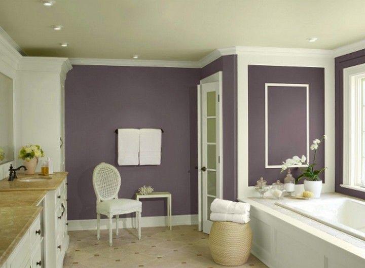 9 Bathroom With Color Ideas To Calm Yourself In 2020 Bathroom Color Schemes Modern Bathroom Colours Purple Bathrooms
