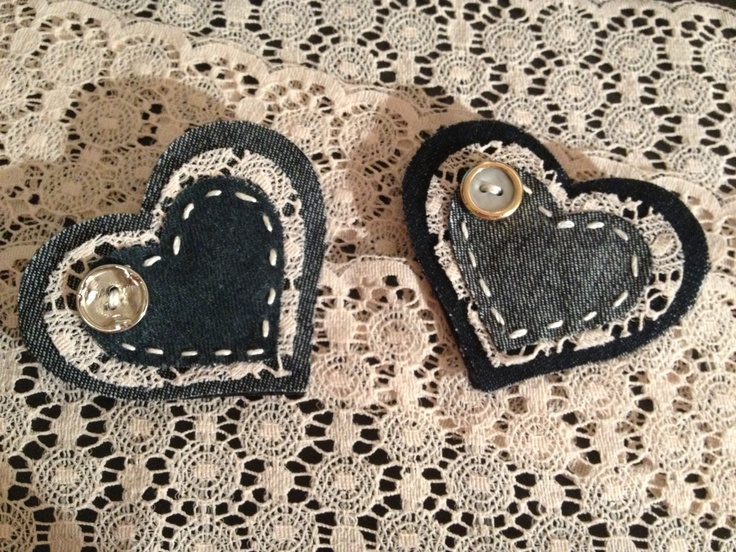 Hand made denim and lace heart brooch