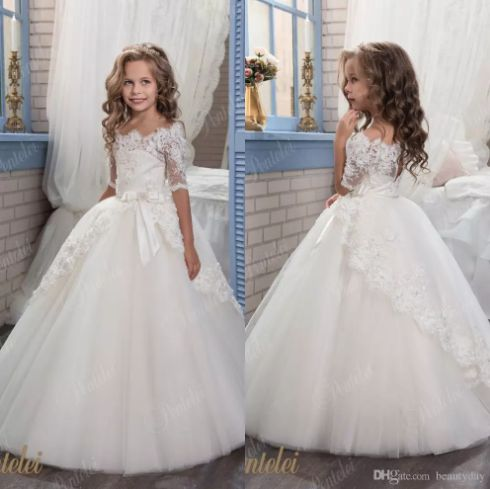 2018 Vintage Ivory Baby Infant Toddler Baptism Clothes Little Flower Girl Dresses For Wedding With Half Sleeves Lace Tutu Ball Gowns Cheap