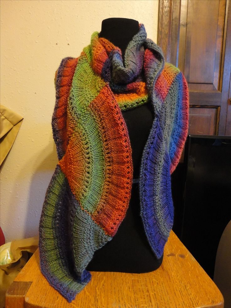 knitted multi color motif scarf