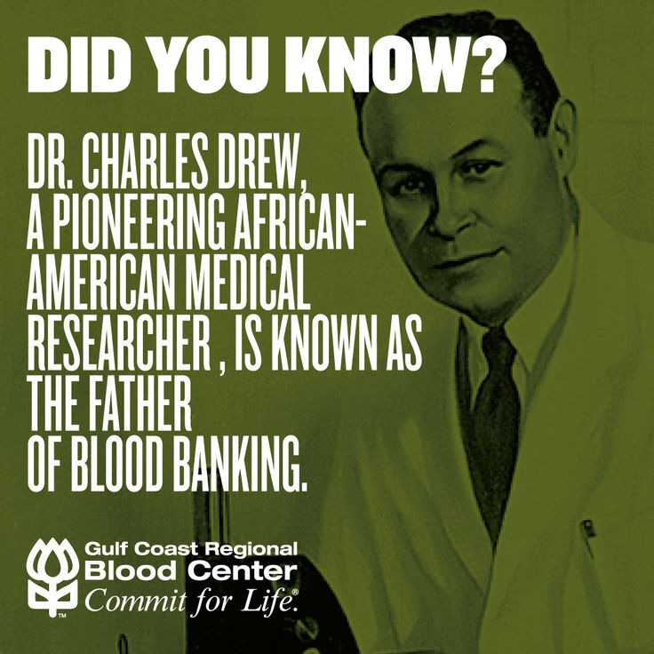 Did you know that Dr. Charles Drew, an African-American physician, surgeon and medical researcher, was the pioneer of the modern blood bank? Dr. Drew's biggest achievements include discovering a system for long-term storage of blood plasma and establishing America's first large-scale blood bank. Thank you to Dr. Drew for creating the biggest development in our industry! #blackhistorymonth #bloodbank #donateblood #donate #savelives