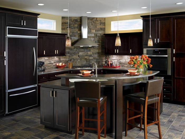 Double Espresso wood cabinetry.