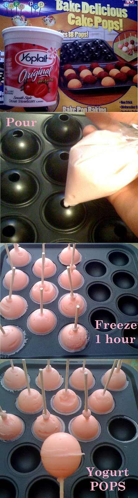"YOGURT POPS  ""Cake Pop"" pan to good use. Fat Free Strawberry Yogurt and placed it in a plastic baggie for easy pouring. Clamped the cake pop pan with the two yellow rubber clips it came with...Filled the cake pop pan Make sure you shake and bang on the table or you will get air bubbles and add pop sticks when they are full. {Freeze} They are ready in an hour.  If they stick you can fill up your sink with warm water and place pan in the water just for a few seconds."
