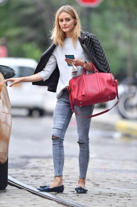 Olivia Palermo wearing Louis Vuitton Sofia Coppola Satchel Bag, Rebecca Minkoff Pearl Embellished Wes Moto Jacket, Black Orchid Noah Crop Super Skinny in Guilty Pleasure and Jimmy Choo Gabby Flat Slipper