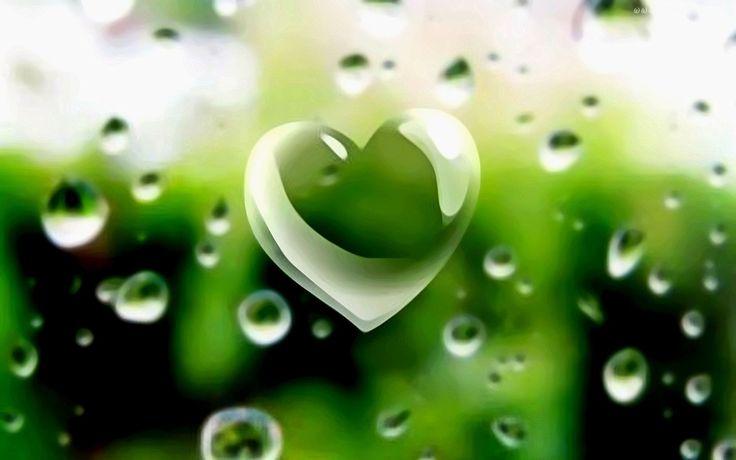 Zielone, Serce, Krople, Deszczu