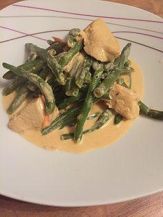 Hähnchenbrust mit Schmand und   grünen Bohnen