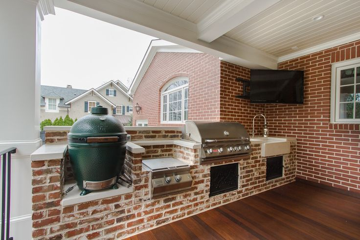 Chic deep fat fryer in Porch Traditional with Brick Facade next to Outdoor Kitchen With Green Egg Grill alongside Charcoal Grill and Big Green Egg