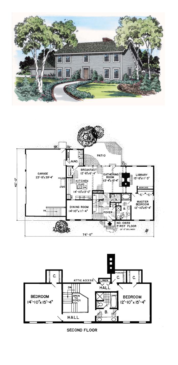 Saltbox house plan 10659 total living area 2620 sq ft for Saltbox house plan