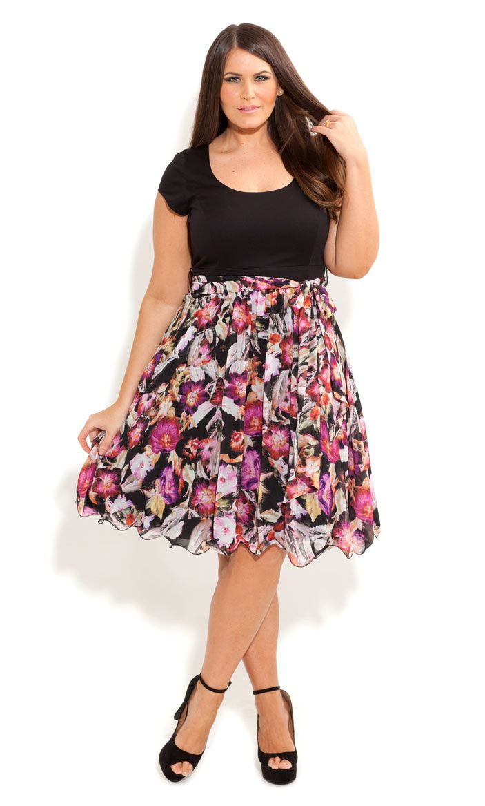 City Chic - FLORAL SIREN DRESS - Women's plus size fashion