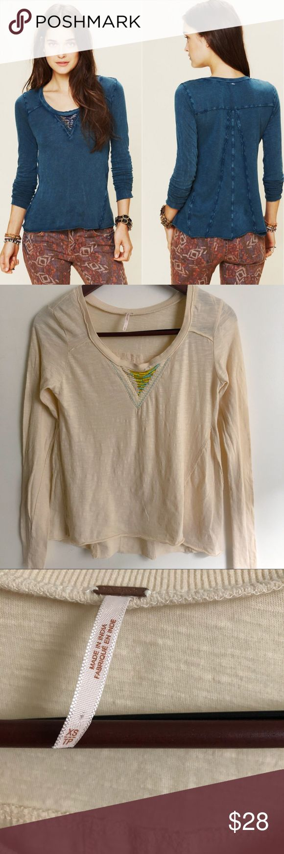 Free People Cream Long Sleeve Top Free people Top. Material: 100% Cotton. Beautiful cream color in great preowned condition 🚫No Trades🚫 Free People Tops Tees - Long Sleeve