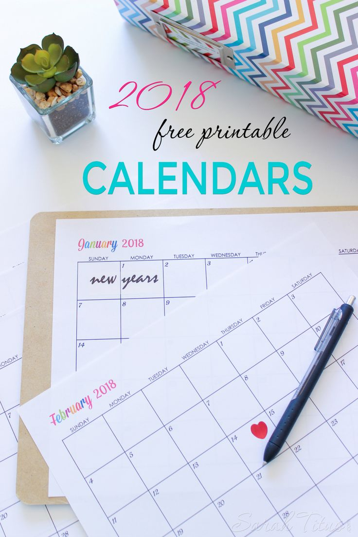 Custom Editable Free Printable 2018 Calendar