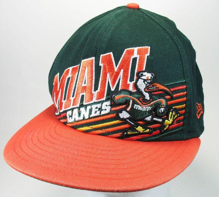 University MIAMI Hurricanes CANES Orange Green SNAPBACK HAT Trucker Cap NCAA VGC #NewEra #MiamiHurricanes