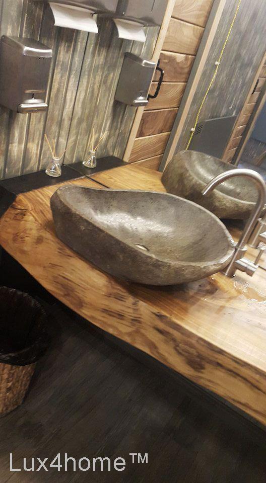 River stone vessel sink bathroom – natural #stone …