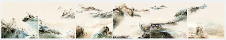山高怎碍白云飞 组合长卷  Lu Jun Ink