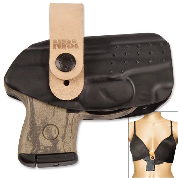 Our Flashbang Women's Holster has revolutionized the way women conceal their firearms. Designed to be attached to the middle of the bra and tucked under its underwire, this holster is discreet. The bra band will hold the holster in place while the leather strap keeps the holster steady while you draw. The Flashbang comes with 3 leather straps of varying length boasting the NRA logo. Made in USA.$39.95 - purchase here:
