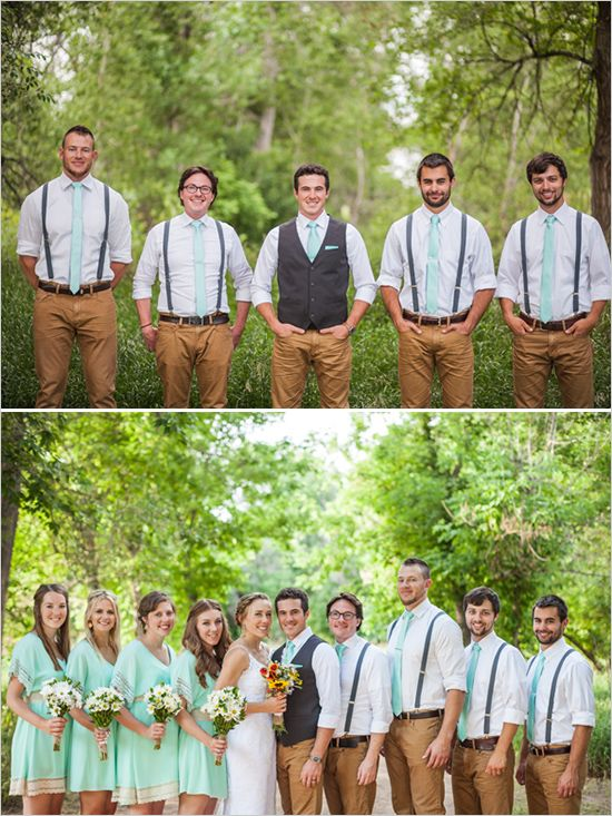 Groom and groomsman looks: khaki pants, teal suspenders and bow ties.