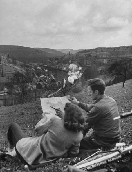 vintage photograph, couple, 1940s, train, drawing, bike
