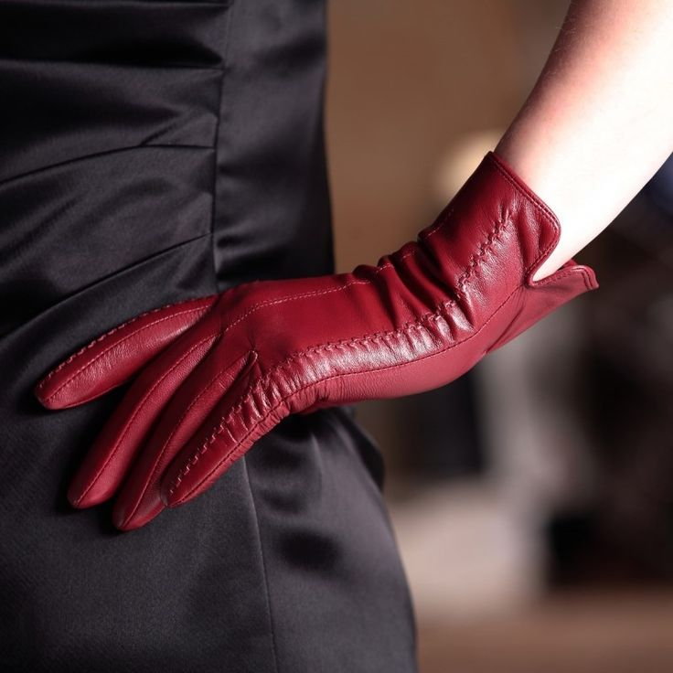 Velvet Lining  Gloves Women's Genuine Leather Gloves Female Short Design Aut…