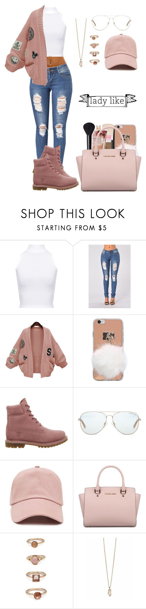 """Lday liike"" by life957 ❤ liked on Polyvore featuring WearAll, WithChic, Timberland, Michael Kors, Forever 21 and Zoya"
