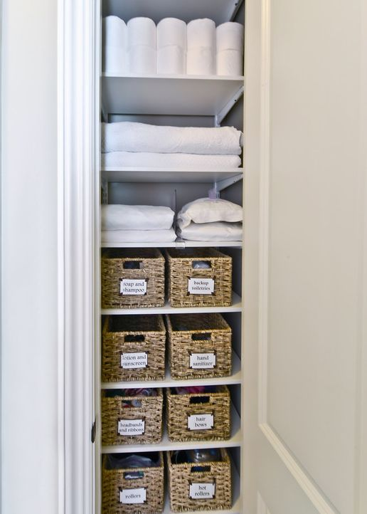 How about these seagrass baskets that fit into the narrowest of linen  closets  Organisation IdeasOrganizing IdeasStorage. Best 25  Bathroom closet ideas on Pinterest   Bathroom closet