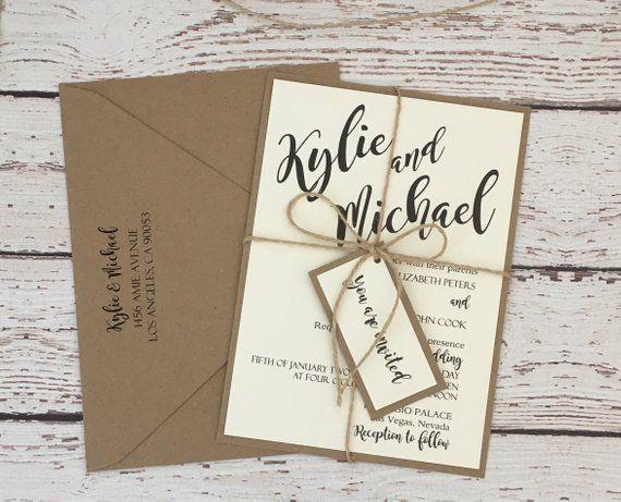 Image 0 Simple Wedding Invitations Rustic Simple Wedding Invitations Kraft Wedding Invitations